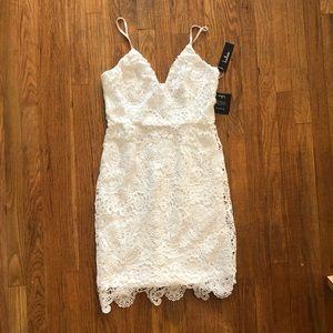White lace mini dress size Large